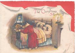 THE CHRISTMAS STOCKING humanized father dog puts PUPPY BISCUIT in stocking, pups sleep in bed