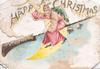 HAPPY CHRISTMAS above Santa flying left on broomstick, sliver of moon & bells behind