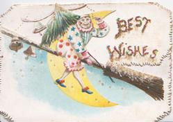 BEST WISHES right,  clown flying right on broomstick, sliver of moon & bells behind