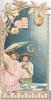 GREETINGS (G illuminated) 2 girls in kimonos carrying fan & parasol under Japanese lanterns & stylised leaves