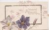 A BLESSED CHRISTMAS in gilt on gilt framed plaque, violets below, stylised wild rose around