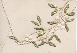 no front title, spray of silvered mistletoe with white berries on top flap