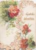 GOOD WISHES in gilt right, carnations & mignonette on both flaps, pink marginal design