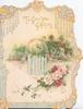 TO GIVE YOU GREETING in gilt above rural inset, picket gate, pink & red roses, marginal design