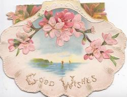 GOOD WISHES pink wild roses above seascape in shell-shaped design.
