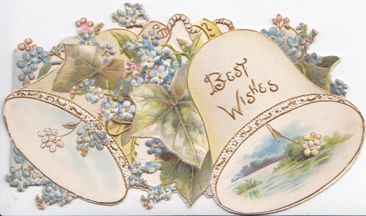 BEST WISHES in gilt on white bell, forget-me-nots & ivy over another bell, seascape inset,