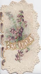 BEST WISHES( illuminated gilt) perforated between purple heather,designed white background, glittered & perforated left design