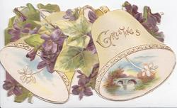 GREETINGS in gilt on white bell, violets & ivy over another bell, rural inset,