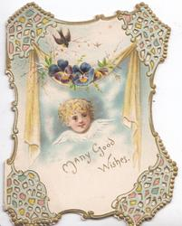 MANY GOOD WISHES below angel, pansies & tiny swallow, blue & gilt perforated corner design