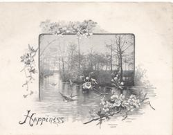 HAPPINESS, swallow flies over watery rural scene, wild roses around