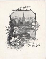 GOOD WISHES, STRATFORD ON AVON large church behind lock gates & watery rural scene, narcissi around