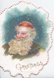 GREETINGS in gilt, head & shoulders of bearded Santa in red shull cap, starry blue background