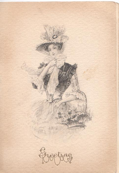 GREETING at base under lady in nouveau style dress with basket of flowers on her arm