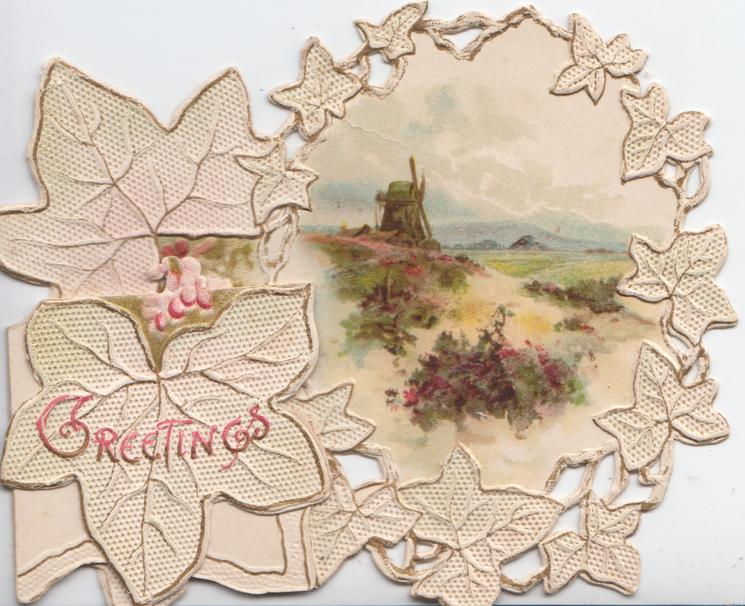 GREETINGS in pink on side flap, HEARTY CHRISTMAS WISHES in gilt left of stylised ivy leaves surrounding rural inset with windmill