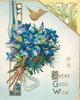EVERY GOOD WISH(E,G &W illuminated) in gilt on white below bunch of blue anemones, gilt bird flies over pale blue background