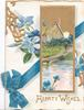 HEARTY WISHES  in gilt below design of blue ribbon & gilt, blue anemones,rural inset of cottage with woman walking to dock, blue cornflowers below