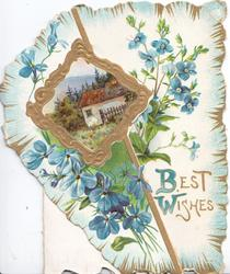 BEST WISHES(B & W illuminated) in gilt below blue anemones surrounding gilt bordered design round rural inset