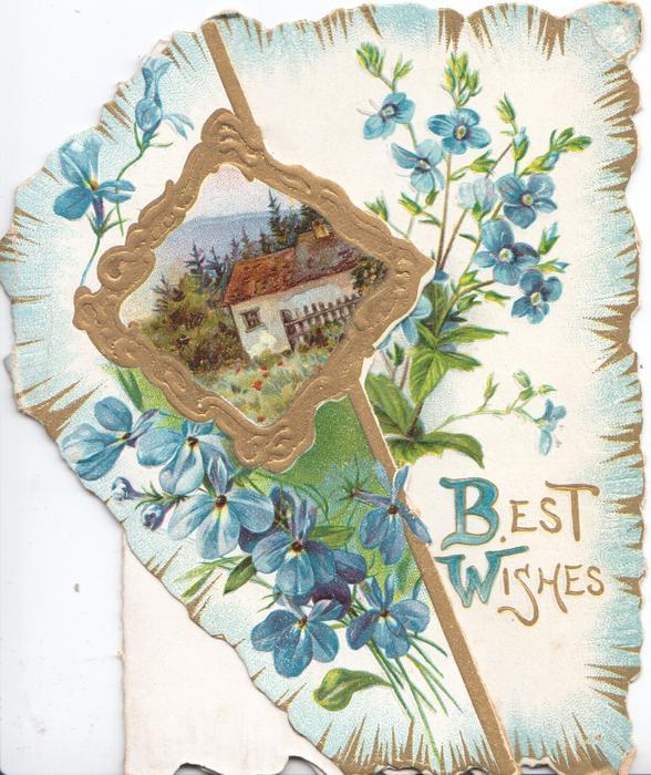 BEST WISHES(B & W illuminated) in gilt below blue anemones surrounding gilt bordered design round rural inset