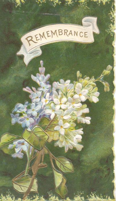 REMEMBRANCE in gilt above lilac, deep green background,