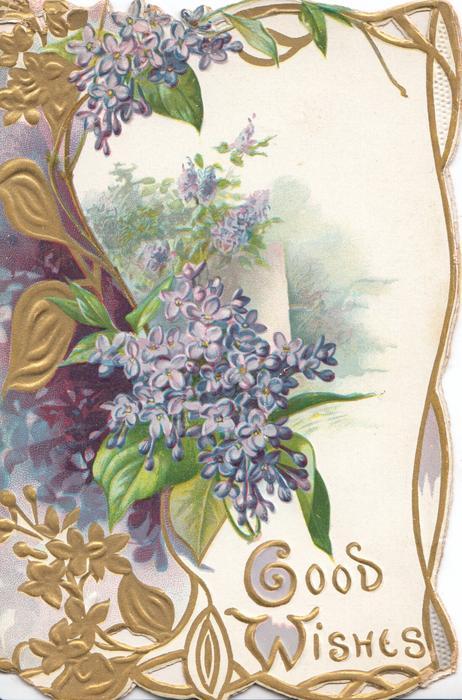 GOOD WISHES in gilt below lilac in complex gilt & lilac design, gilt marginal design