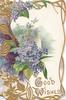 GOOD WISHES in gilt below lilac in complex gilt & lilac design, gilt marginal design