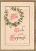 """TO WISH YOU HAPPINESS(T,W & H illuminated) ivy surrounds """"TO"""", gilt marginal design"""
