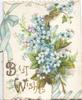 BEST WISHES (glittered B & W) in gilt below left, ivy leaves, ferns & forget-me-nots above, blue ribbon & bow design