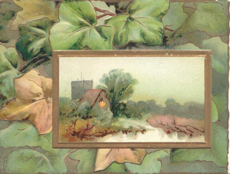 no front title, gilt borders rural inset church & stream, green & bronzed ivy right & above