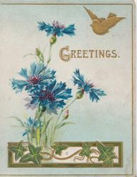 GREETINGS (G illuminated), gilt bird above blue cornflowers rising from gilt plaque with ivy leaves