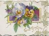 GLAD GREETINGS in gilt below multicoloured pansies over purple plaque, stylised ivy marginal design