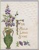 FOR AULD LANG SYNE(F illuminated) in gilt, purple heather in green vase