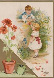 WITH LOVE in red & gilt, boy leans over wall to give red chrysanthemum to girl, red chrysanthemums in pot by watering can front left