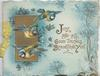 JOY AND AND GOOD THINGS BEFORTUNE YOU stylised blue chrysanthemums around 3 blue-tits flying in front of gilt panel