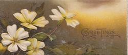 GREETINGS in gilt right, yellow primroses left, shaded brown background