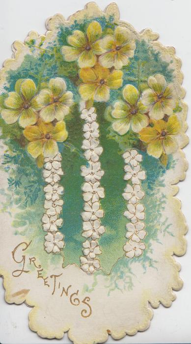 GREETINGS in gilt below left, yellow primroses above, stylised white flowers, green background