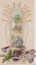 no front title, purple iris below rural inset & elaborate design