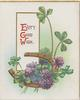 EVERY GOOD WISH(E,G &W illuminated) above purple clover around gilt horseshoe