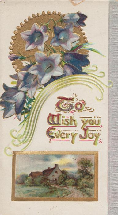 TO WISH YOU EVERY JOY(illuminated) below gilt design & purple campanulas, rural inset below