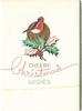 CHEERY CHRISTMAS WISHES  below robin perched on holly, gilt circle behind, thin green & gilt panel right