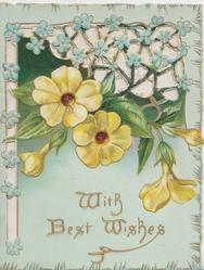 WITH BEST WISHES in gilt below yellow primroses & perforated design with blue forget-me-nots