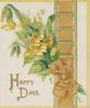 HAPPY DAYS in gilt below bunch of yellow primroses & perforated orange design with bow