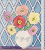 no front title, round vase with variously coloured anemones, blue argyle background, panel of dotted semi-circles right