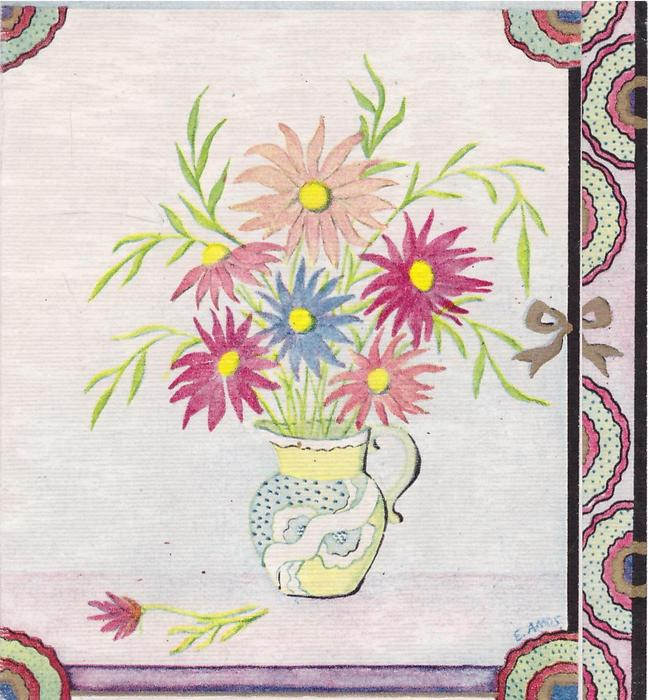 no front title, variously coloured stylised flowers in pitcher, gilt bow, dotted circular pattern on panel right