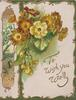 TO WISH YOU WELL bronze polyanthus & yellow primroses. design left