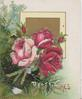 BEST WISHES below red & pink roses, foliage behind, square gilt & yellow design