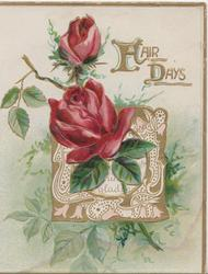 FAIR DAYS(F&D illuminated) in gilt above red roses in front of perforated white & gilt design & foliage, gilt margins