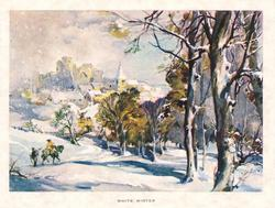 WHITE WINTER man on horseback, passes pedestrian, riding towards village in snow,  many trees right