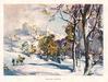 WHITE WINTER man on horseback, passes pedestrian, riding towards village in snow,  many trees right