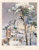 CHRISTMAS-TIME church & village in snow, aerial view, prominent tree right