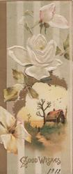 GOOD WISHES in gilt below white roses & rural inset, striped white, grey & brown background